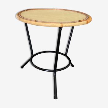 Table tripode rotin et métal vintage années 60