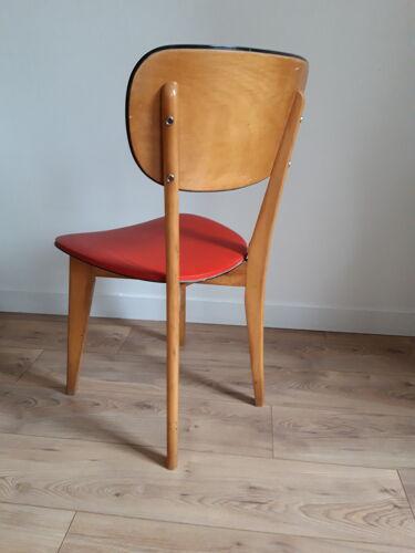 Chaise skai et bois