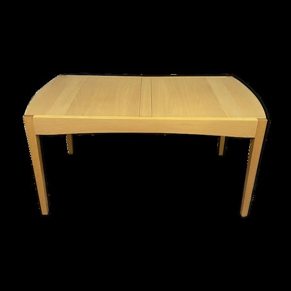 Table design a système d'allonges intégrées en bois clair vers 1980