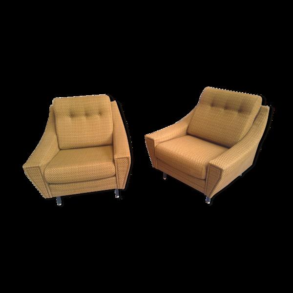 Selency Paire de fauteuils années 60 vintage jaune doré