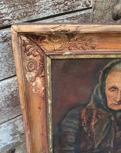 Portrait vieille femme provençale - Huile fin XVIIIème Empire