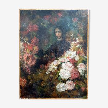 Huile sur toile  Jeune femme aux fleurs Félix Ziem1821-1911