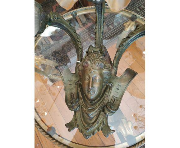 Applique bronze patiné tête de femme