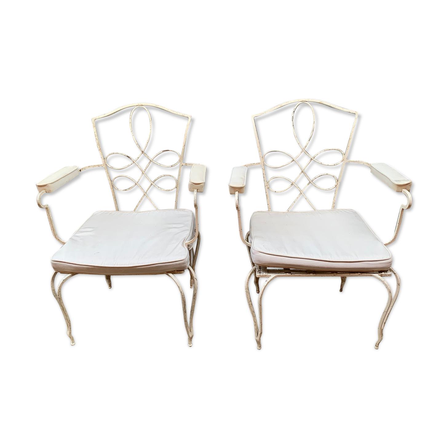 Paire de fauteuils en fer forgé blanc années 1940