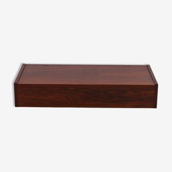 Boîte de table de bois de rose de cru avec des compartiments et le couvercle