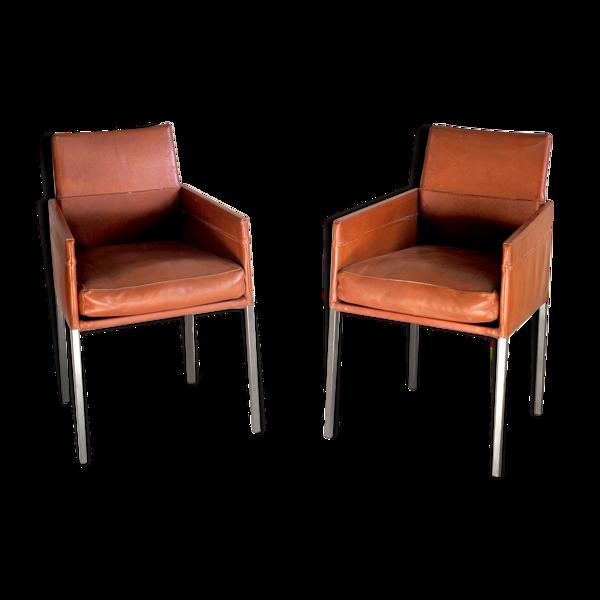 Paire de fauteuils en cuir de Karl Friedrich Förster 1990