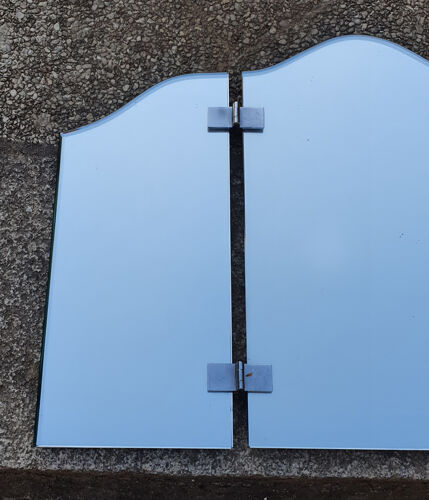 Miroir triptyque grand format vintage années 66x45cm