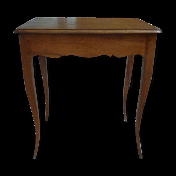 Table en bois naturel à un tiroir de style Louis XV