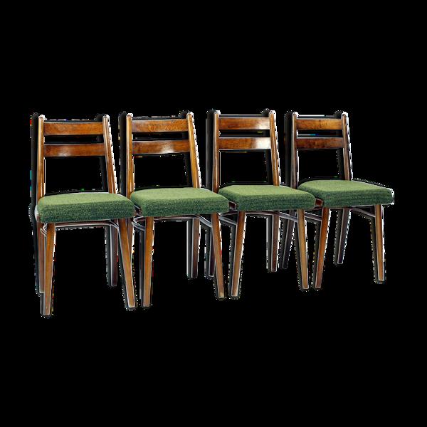 Selency 4 chaises à manger en chêne et tissu par Interier Praha, Tchécoslovaquie 1966