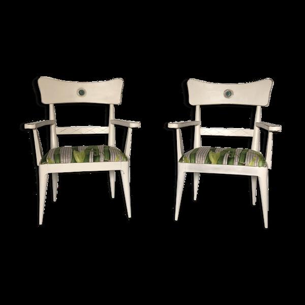 Selency Paire de fauteuils design en bois laqué blanc France vers 1960 vintage