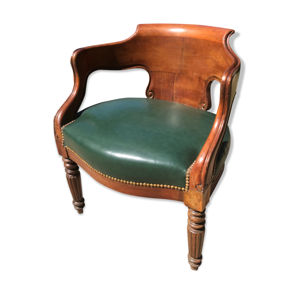 Selency Fauteuil de bureau époque Louis Philippe cuir