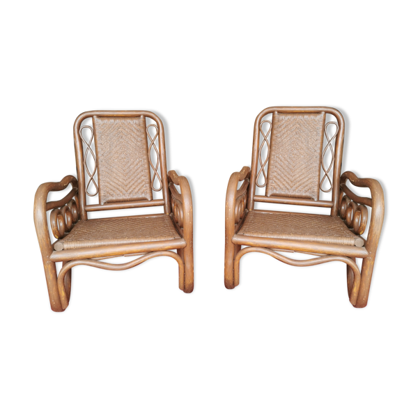 Paire de fauteuils rotin et cannage années 70