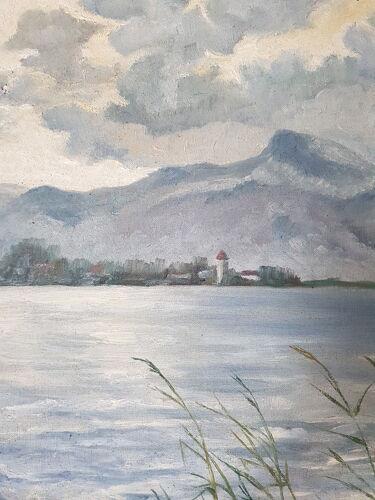 Tableau ancien Huile sur toile signé C Schmijt région d' Annecy