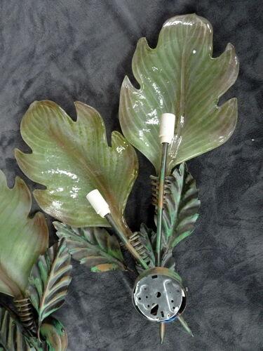 Paire d'appliques en tôle peinte verre de Murano vegetal haut 63 cm
