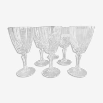 Lot de 6 verres à eau vintage en verre moulé