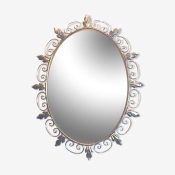 Miroir ovale Deknudt en laiton doré - 65x50cm