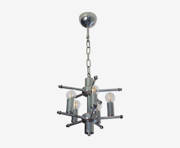 Lustre spoutnik 5 bras, acier chromé 1970