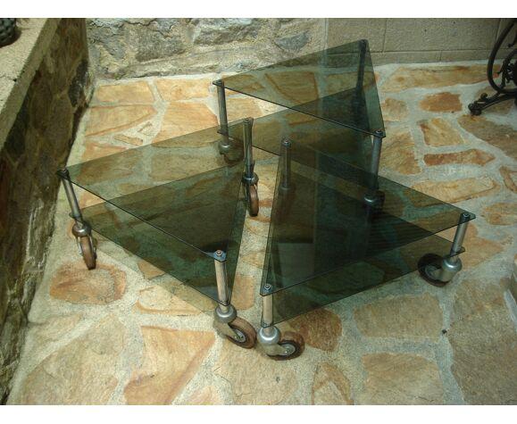 Ensemble de 3 tables basses mobilier industriel vintage 1970/1980