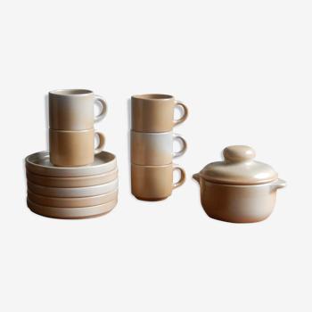 5 tasses à café, sous-tasses et sucrier Niderviller en grès des années 60 france