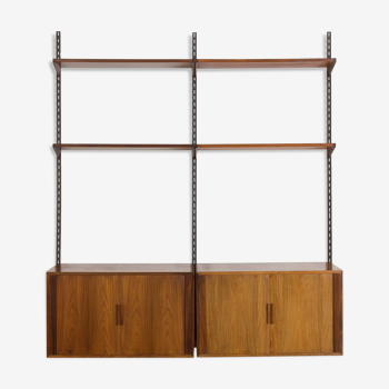 Rosewood FM wall unit by Kai Kristiansen with 2 cabinets with tambour doors, Denmark, 60s