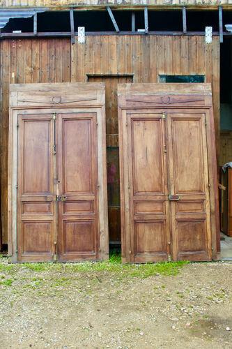 Boiserie De Doubles Portes En Noyer avec cadre, Double Face XIXème