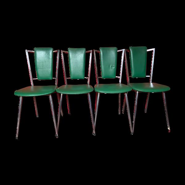 Série de 4 chaises vintage cuir vert et chrome