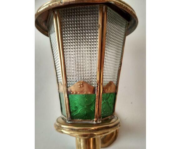 Applique murale lanterne marocaine en laiton, vitre et vitraux colorés