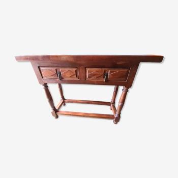 Console en bois deux tiroirs