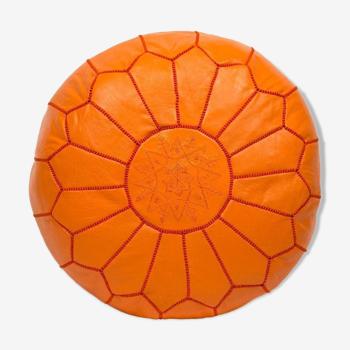 Orange leather ottoman 35 CM x 55 CM