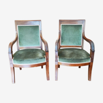 Pair of mahogany armchairs/palm décor/Restoration period
