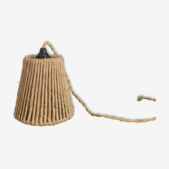Suspension corde naturelle vintage années 50