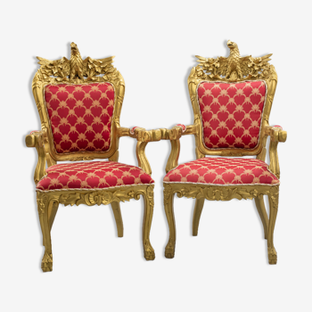 Pair of red and gilded wood armchairs with eagle decoration