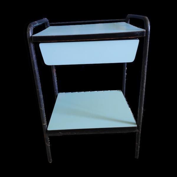 Chevet formica bleu clair et structure métal noir des années 50