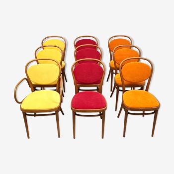 Ensemble de 9 chaises de salle à manger modèle 215 par Josef Hoffmann pour Thonet, Autriche années 1980