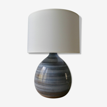 Blue enamelled sandstone lamp, signed