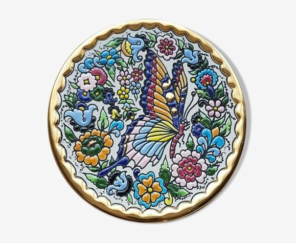 Assiette décorative Cearco peinte à la main avec des émaux et de l'or sterling (24 carats) fabriquée en Espagne