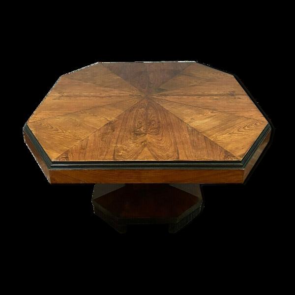 Table époque art déco a allonges en bois exotique et bois noirci vers 1925