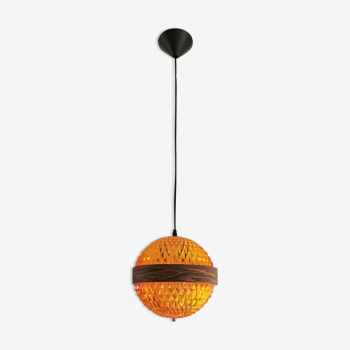 Lampe à suspension en plastique orange 70s