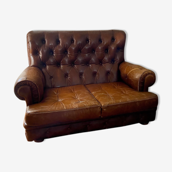 Canapé chesterfield vintage 70s 2 places