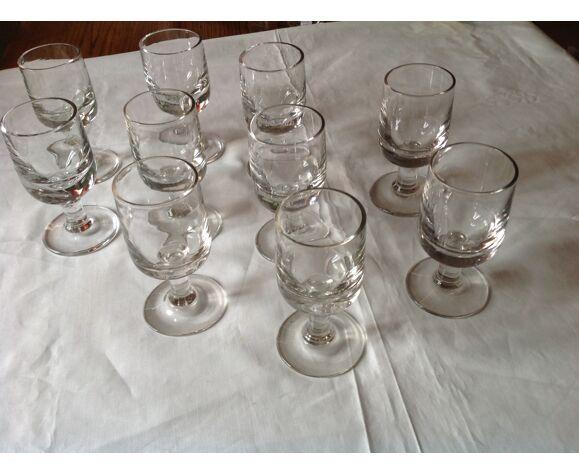 10 verres de bistrot ancien en verre soufflé