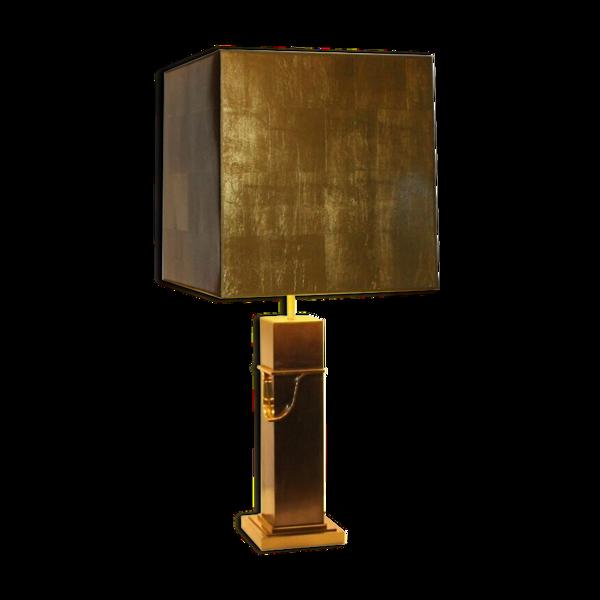 Lampe et son abat-jour design en métal doré et laiton