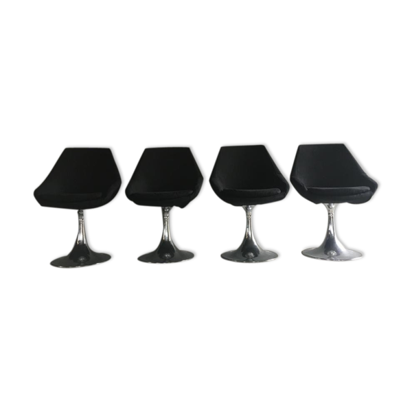 Selency Ensemble chaises tulipe vintage chrome