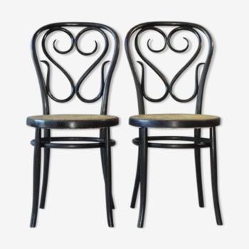 Deux chaises Café Daum cannées type N° 4 design de Thonet,reproduction italienne 1970