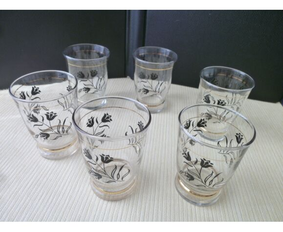 Set de 6 verres  de table vintage forme gobelet  décor floral noir