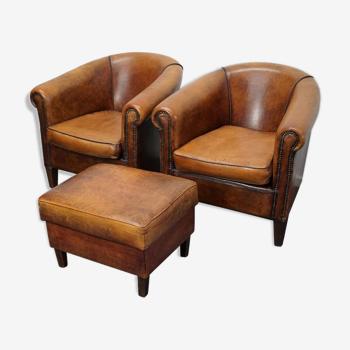 Set de 2 fauteuils club avec repose-pieds vintage en cuir Pays-Bas