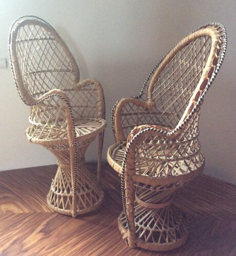 Pair of miniature Emmanuelle rattan armchairs
