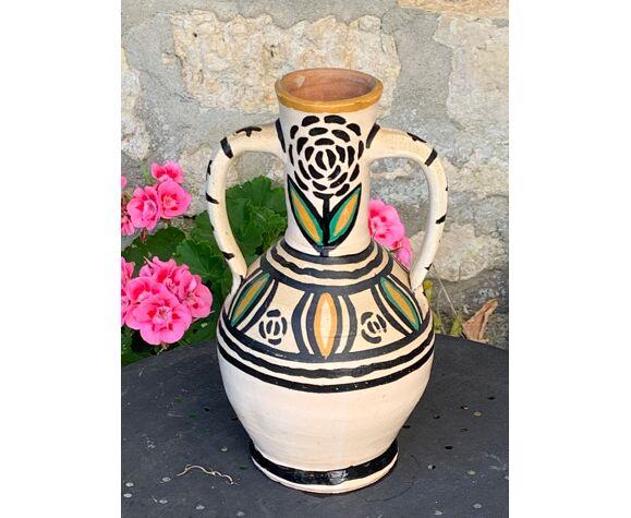Vase amphore oriental poterie en terre artisanale vintage