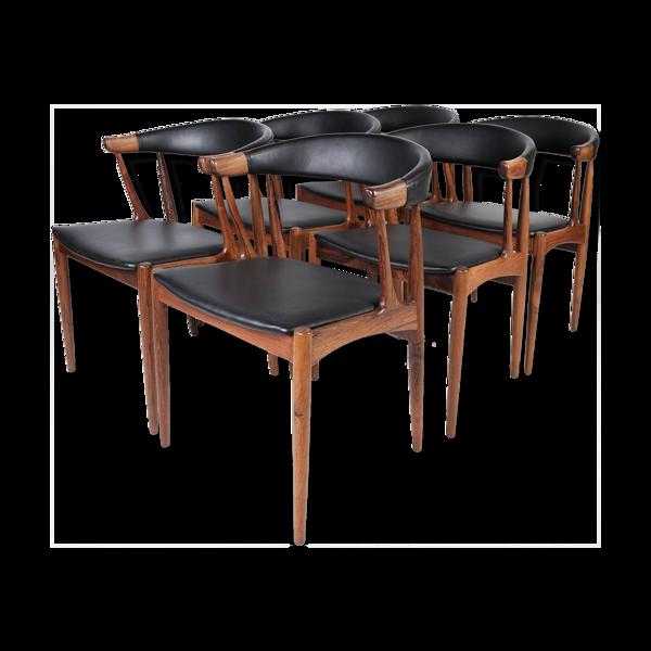 Lot de six chaises de salle à manger en palissandre par Johannes Andersen