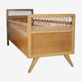 Lit vintage des années 60 bois et rotin