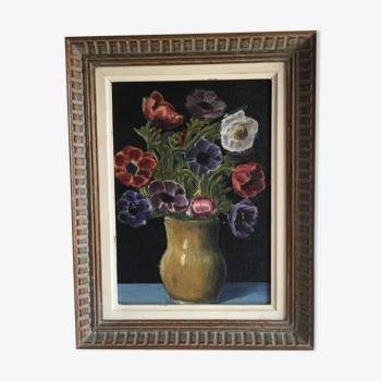 Tableau ancien bouquet de fleurs
